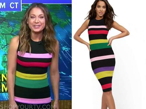 ginger zee, good morning america, rainbow multicolor striped knit dress