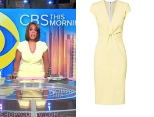 gayle king, cbs this morning, pastel yellow twist sheath dress