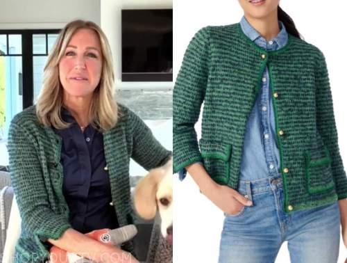 good morning america, lara spencer, green tweed cardigan sweater