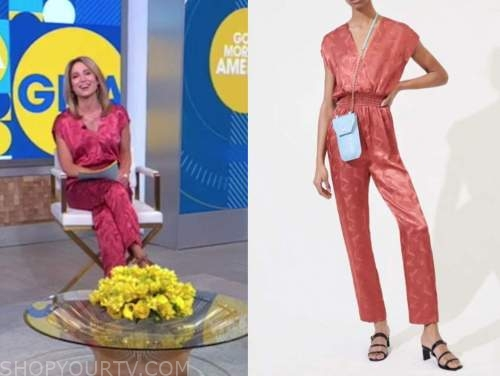 amy robach, pink satin jumpsuit, good morning america