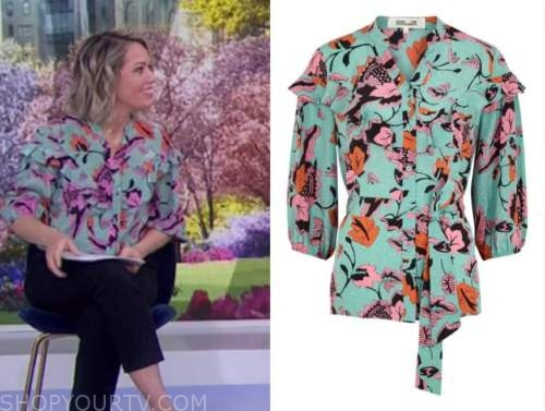dylan dreyer, the today show, blue mint green floral ruffle blouse
