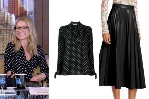 kelly ripa, live with kelly and ryan, black polka dot blouse, black leather pleated skirt