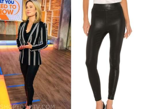 amy robach, good morning america, black leather leggings