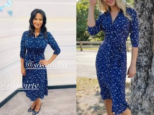 ranvir singh, good morning britain, blue printed shirt dress