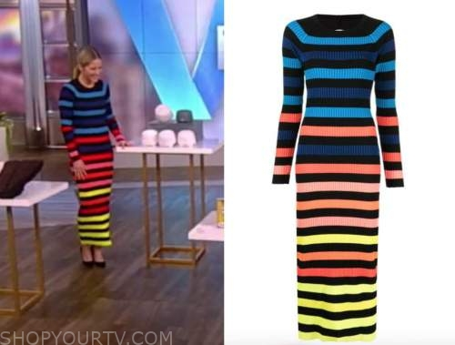sara haines, multicolor striped knit sweater midi dress, the view