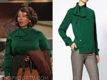 naya benedict, Ptosha Storey , the young and the restless, green tie neck blouse