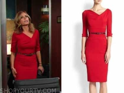 the young and the restless, red belted dress, lauren fenmore baldwin, tracey bregman