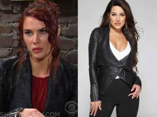 sally spectra, black leather jacket, courtney hope, the young and the restless