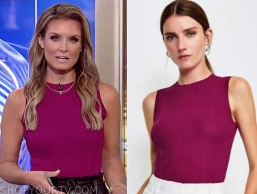 jillian mele, fox and friends, pink ribbed knit sleeveless top