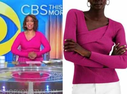 gayle king, cbs this morning, pink knit asymmetric top