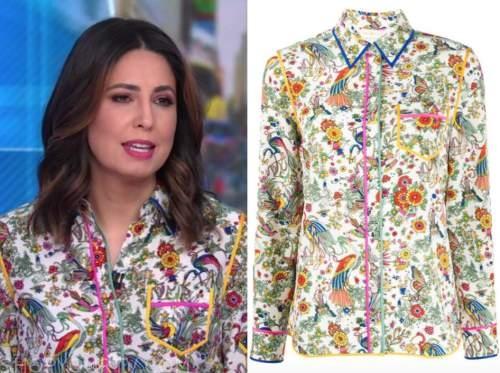 cecilia vega, good morning america, floral contrast trim blouse