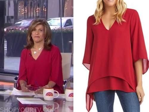hoda kotb, the today show, red v-neck top