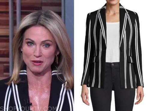 amy robach, black and white striped blazer, good morning america