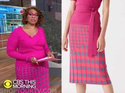gayle king, cbs this morning, pink gingham knit skirt