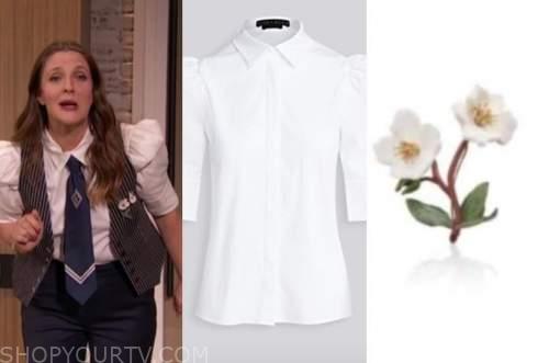 drew barrymore, drew barrymore show, white puff sleeve shirt, flower brooch