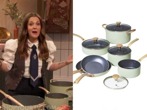 drew barrymore, drew barrymore show, green pots and pants cookware set