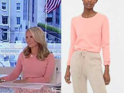 dana perino, america's newsroom, peach pink sweater