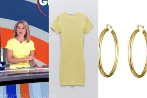 amy robach, yellow knit dress, gold hoop earrings, good morning america, gma3
