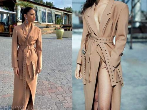 arica himmel, camel trench coat dress, the kelly clarkson show