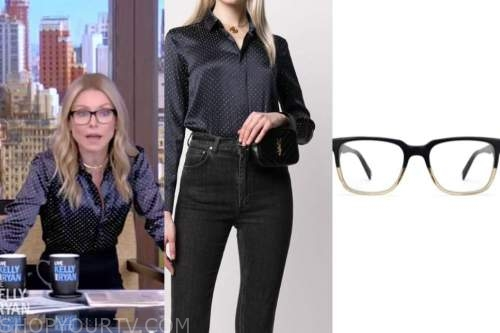 kelly ripa, live with kelly and ryan, navy blue studded shirt, glasses