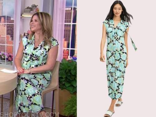 the today show, hoda and jenna, jenna bush hager, black and blue floral tie neck maxi dress