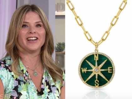 jenna bush hager, the today show, hoda and jenna, green coin pendant necklace,