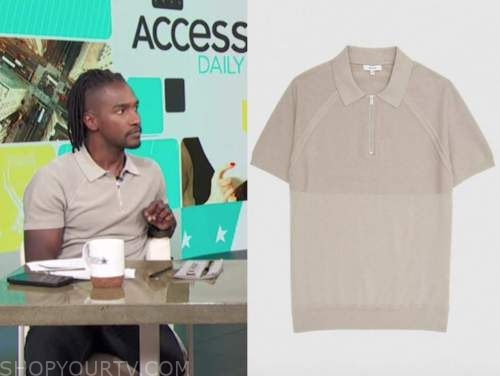 scott evans, beige knit polo shirt, access daily, access hollywood