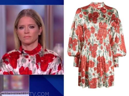 sara haines, the view, red floral mock neck satin dress
