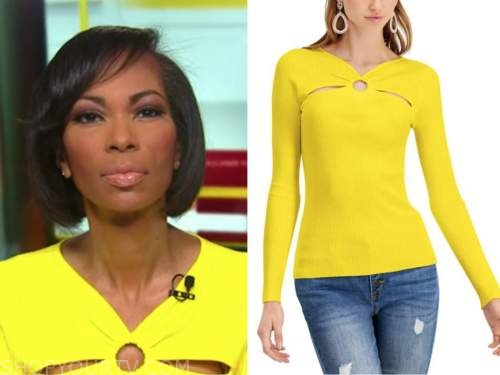 harris faulkner, outnumbered, yellow knit cutout top