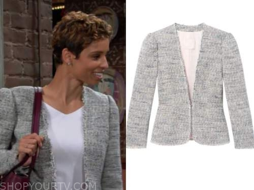 elena dawson, brytni sarpy, the young and the restless, tweed jacket