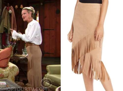 sharon newman, sharon case, the young and the restless, camel brown fringe skirt