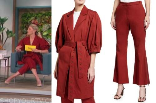 amanda kloots, the talk, red puff sleeve jacket and pants suit
