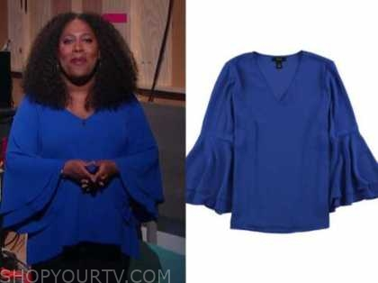 sheryl underwood, the talk, blue tiered bell sleeve top