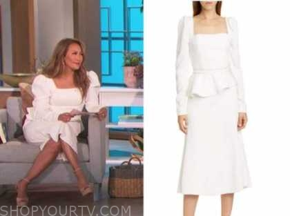 carrie ann inaba, white square neck dress, the talk