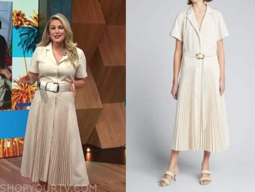 carissa culiner, E! news, daily pop, beige pleated midi shirt dress