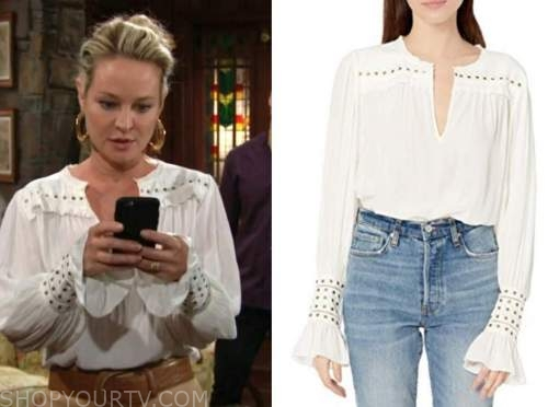 sharon newman, sharon case, the young and the restless, ivory studded blouse