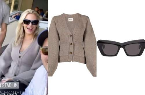 morgan stewart, beige cardigan, black sunglasses, instagram fashion