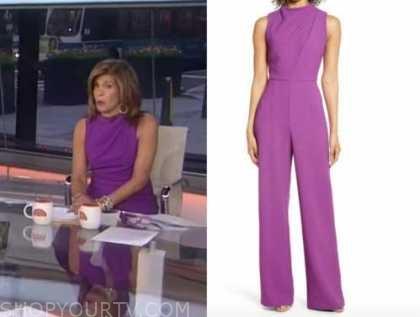 the today show, hoda kotb, purple drape jumpsuit