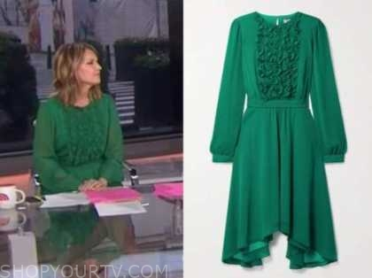 savannah guthrie, the today show, green ruffle dress