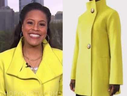 sheinelle jones, the today show, yellow coat