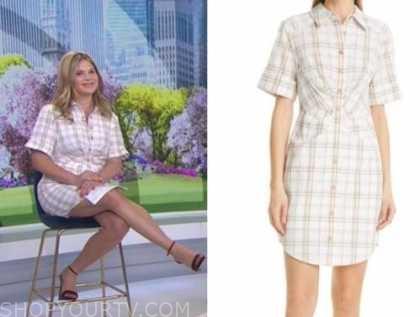 the today show, jenna bush hager, white check plaid shirt dress