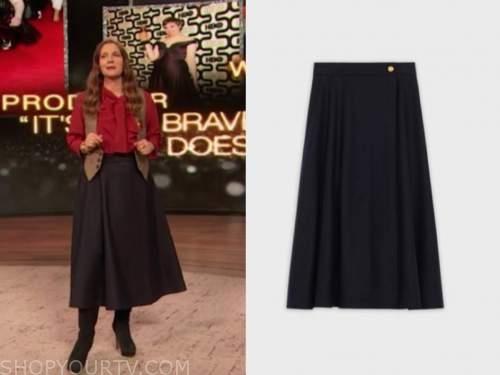 drew barrymore, drew barrymore show, navy blue flare midi skirt
