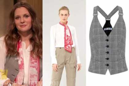 drew barrymore, drew barrymore show, toile tie neck blouse, plaid vest