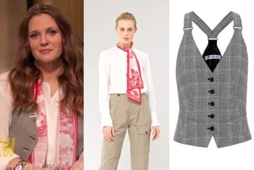 drew barrymore, drew barrymore show, toile tie neck blouse, plaid vest