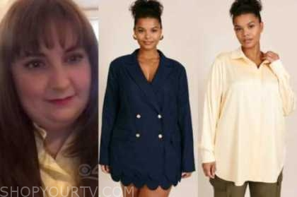 lena dunham drew barrymore show, navy blue blazer, navy scallop skirt, yellow shirt