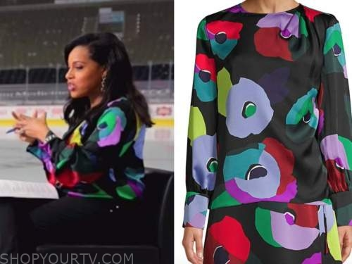 sheinelle jones, the today show, black multicolor floral blouse