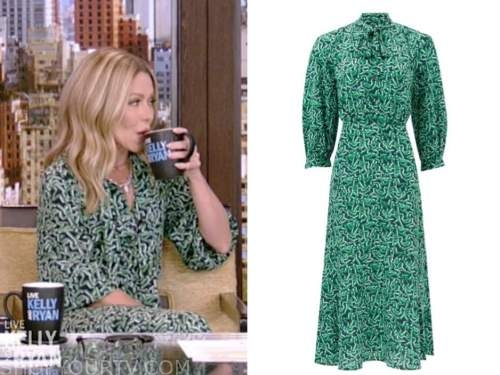 kelly ripa, live with kelly and ryan, green geometric tie neck dress,
