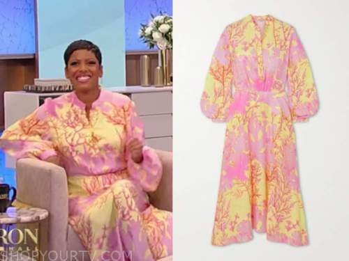tamron hall, tamron hall show, pink and yellow coral floral dress