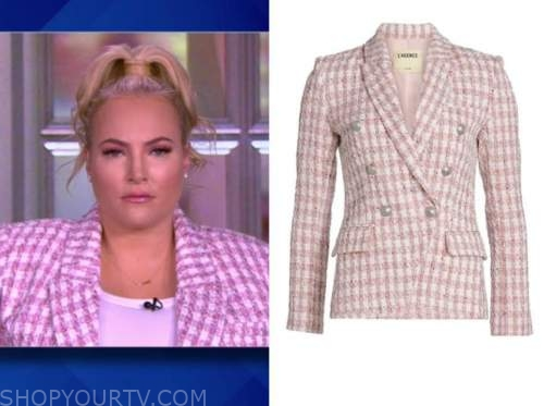 meghan mccain, the view, pink and white tweed check blazer