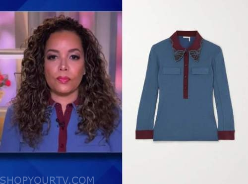sunny hostin, the view, blue and burgundy lace collar blouse